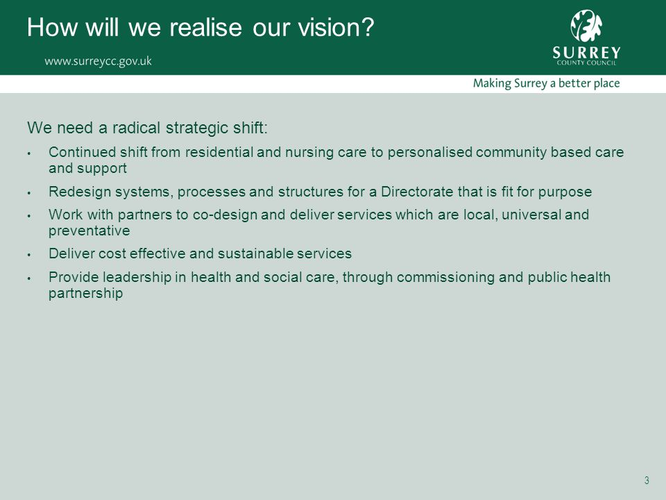 3 How will we realise our vision.