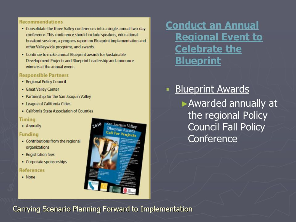Carrying scenario planning forward to implementation plans are only 22 conduct an annual regional event to celebrate the blueprint blueprint awards awarded annually at the regional policy council fall policy malvernweather Images
