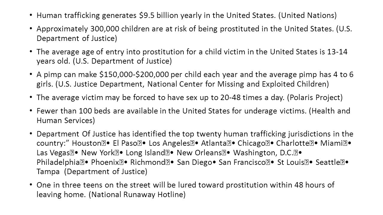 Human trafficking generates $9.5 billion yearly in the United States.