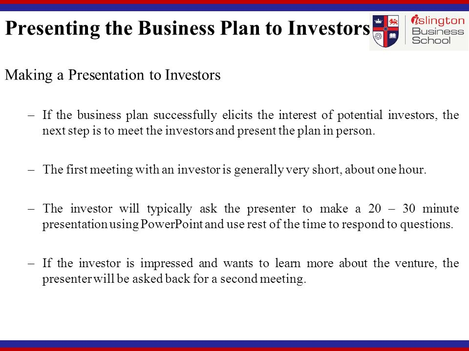 Business plans for investors