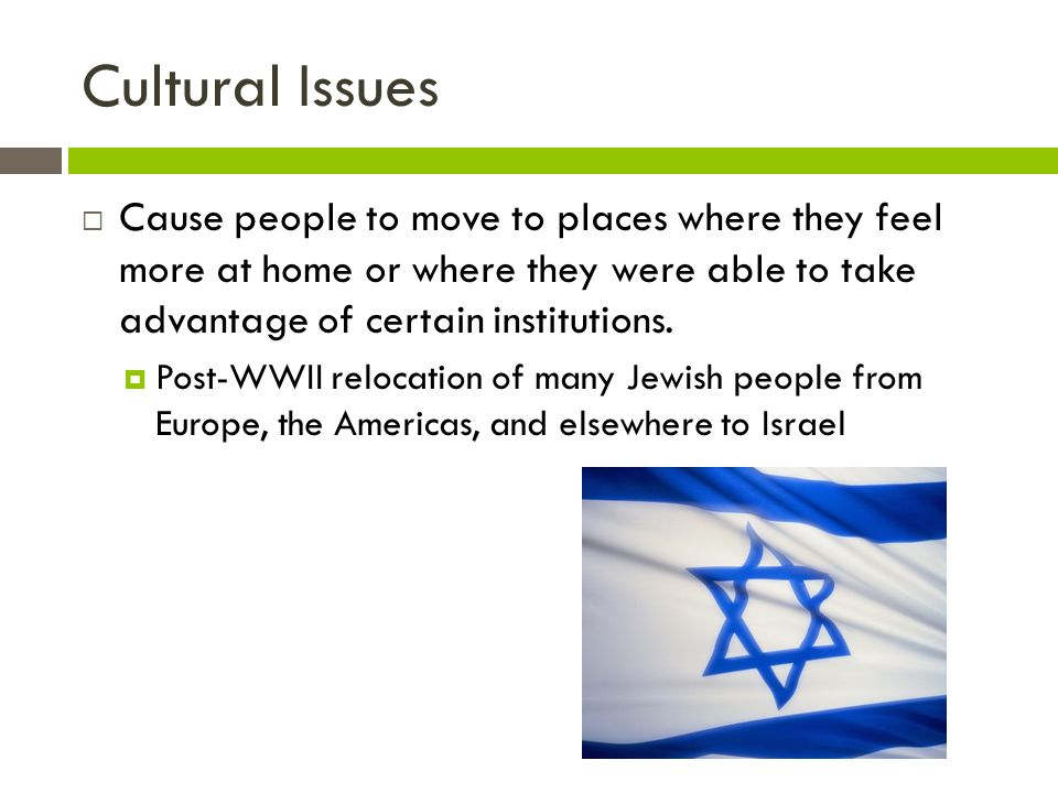 Cultural Issues  Cause people to move to places where they feel more at home or where they were able to take advantage of certain institutions.