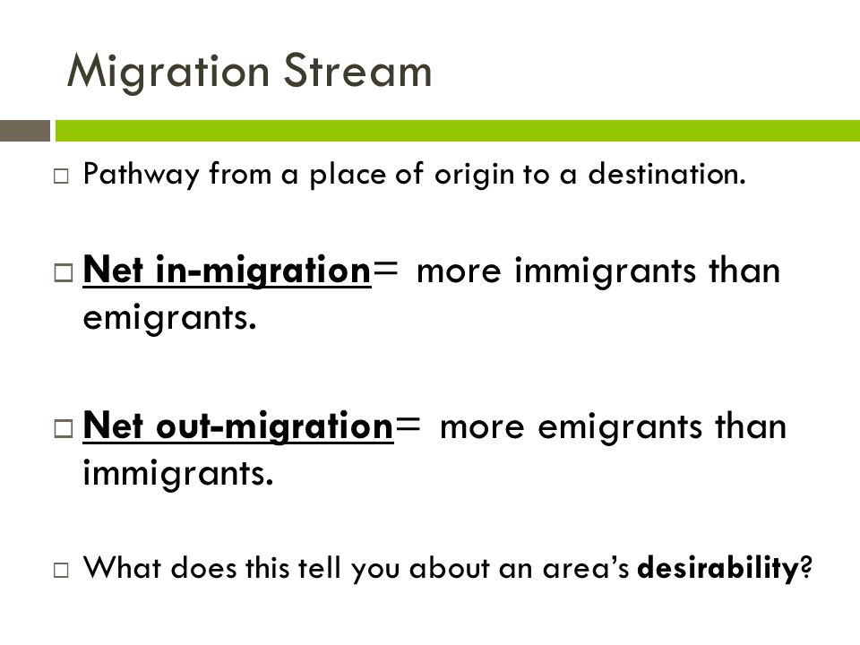Migration Stream  Pathway from a place of origin to a destination.