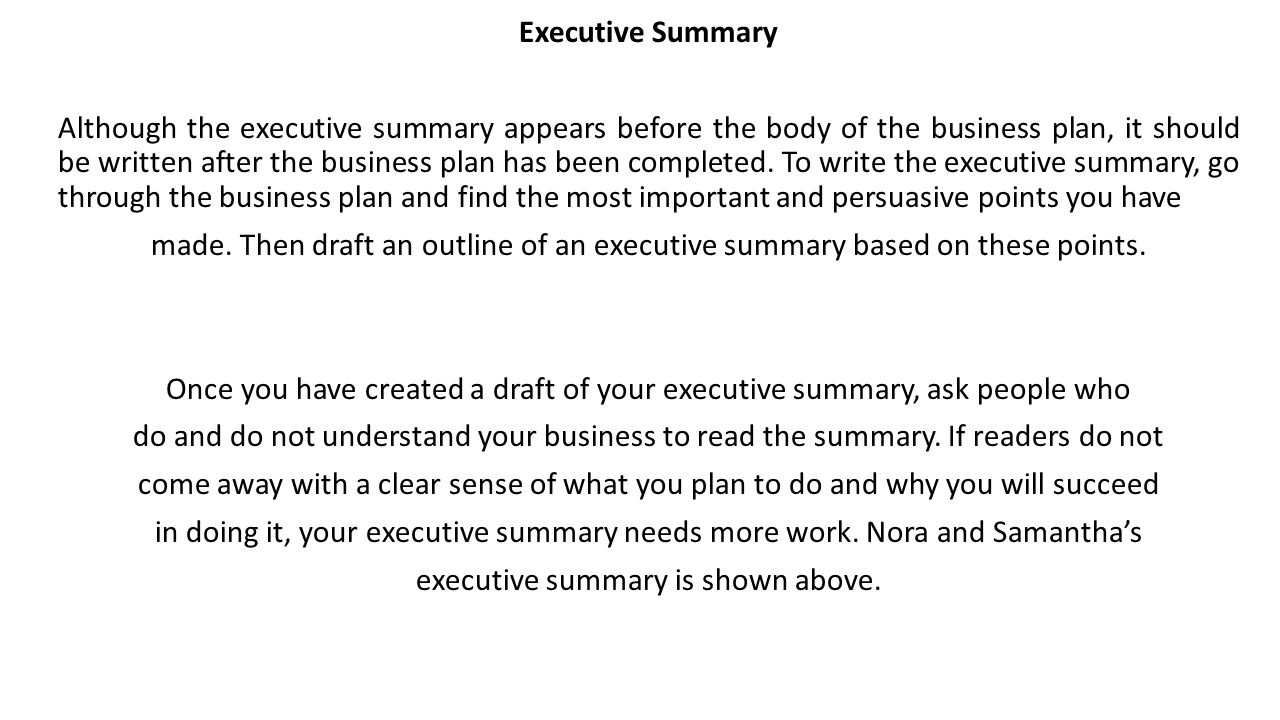 What is an executive summary for a business plan