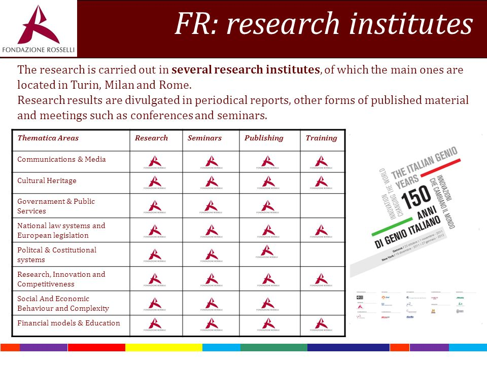 FR: research institutes The research is carried out in several research institutes, of which the main ones are located in Turin, Milan and Rome.