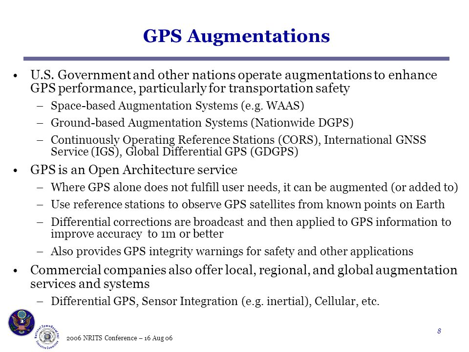 2006 NRITS Conference – 16 Aug 06 8 GPS Augmentations U.S.