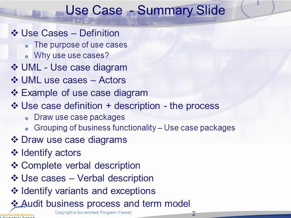 Use case 2 copyright e government program yesser use case 2 copyright e government program yesser use case summary slide use ccuart Images