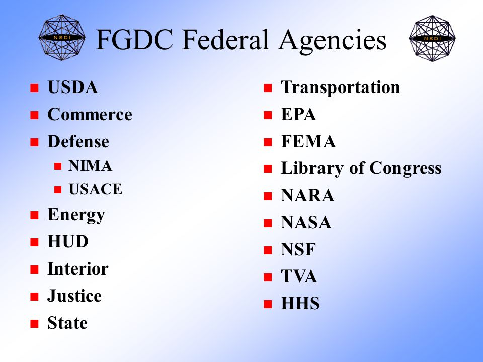 FGDC Federal Agencies n USDA n Commerce n Defense n NIMA n USACE n Energy n HUD n Interior n Justice n State n Transportation n EPA n FEMA n Library of Congress n NARA n NASA n NSF n TVA n HHS