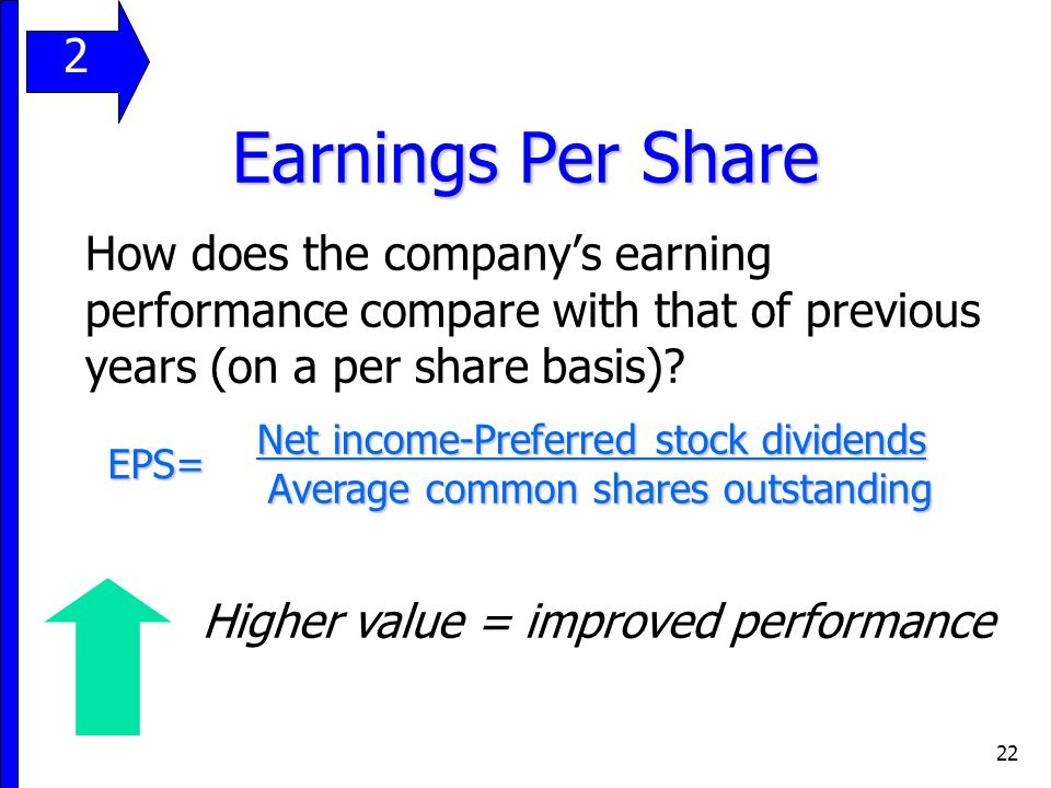 22 Earnings Per Share How does the company's earning performance compare with that of previous years (on a per share basis).