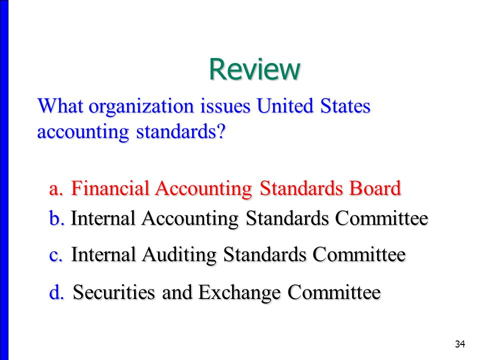 34 Review What organization issues United States accounting standards.