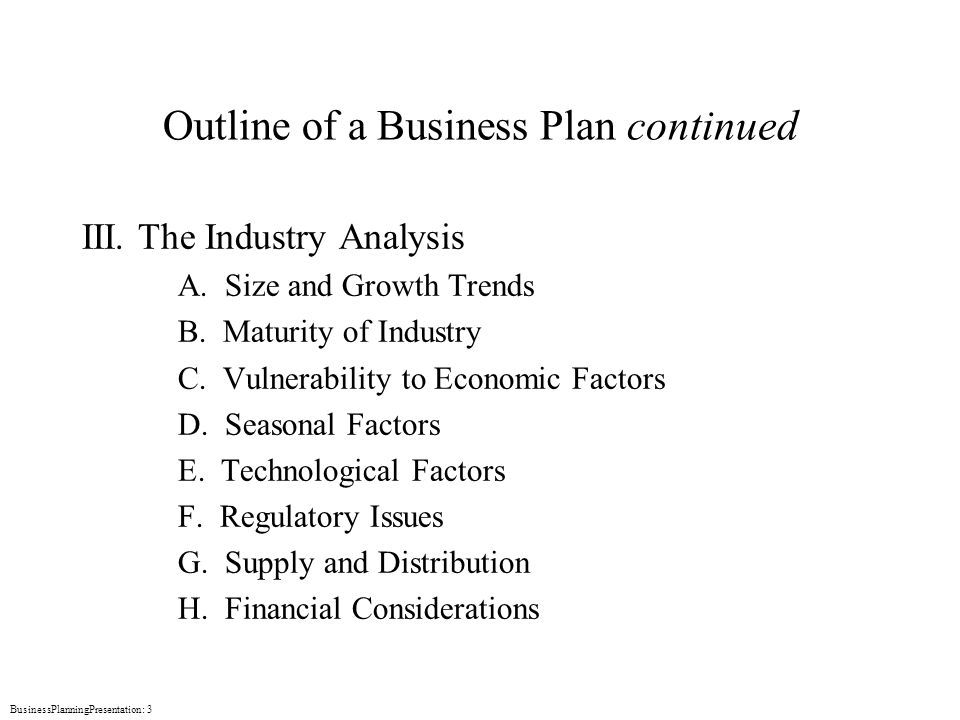 Business plan industry overview