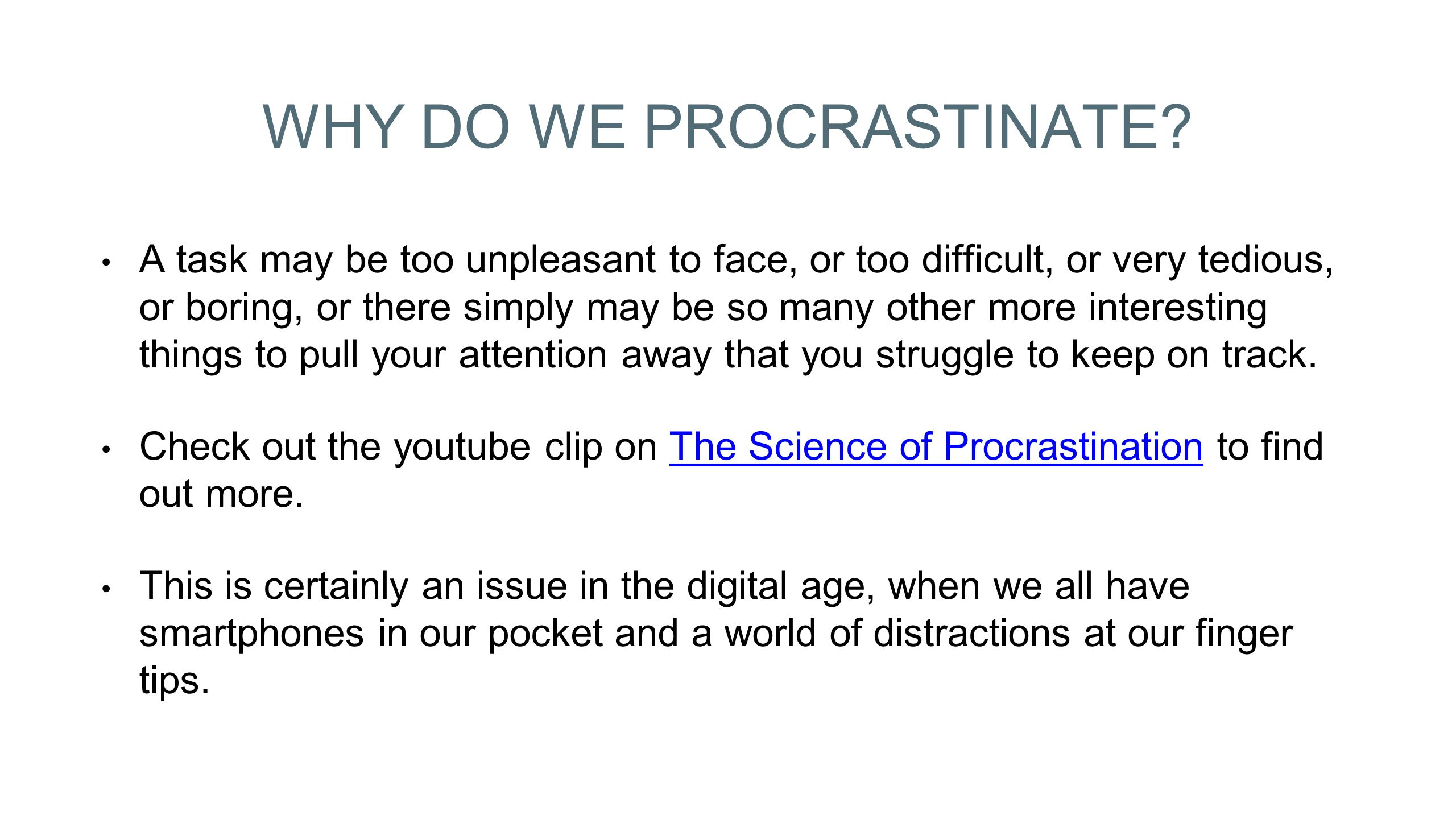 informative essay procrastination Persuasive speech posted by ammonmatthews 0 (preview) in order to overcome this you need to understand what procrastination is and if you do it.