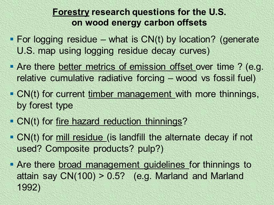 forestry research questions for the u s
