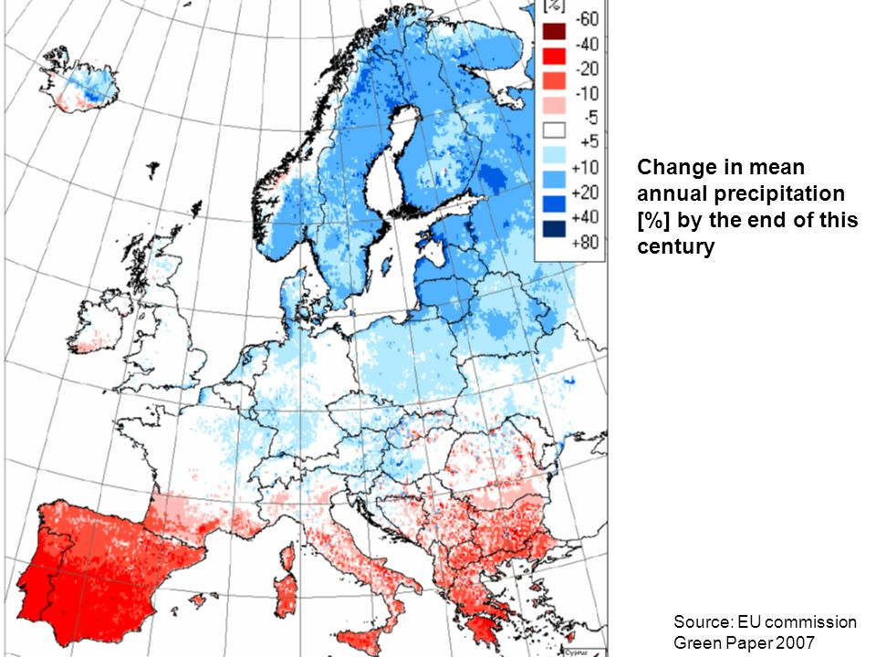 Change in mean annual precipitation [%] by the end of this century Source: EU commission Green Paper 2007