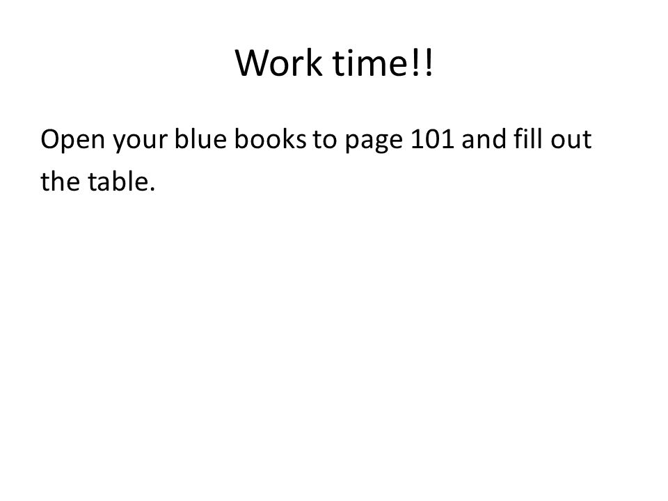 Work time!! Open your blue books to page 101 and fill out the table.