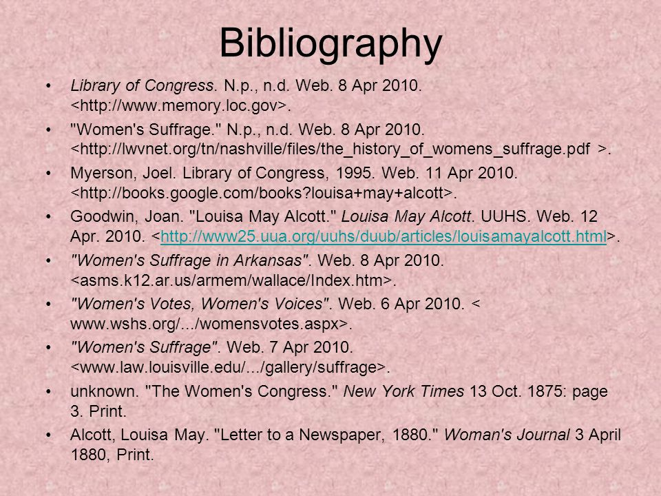 Bibliography Library of Congress. N.p., n.d. Web.