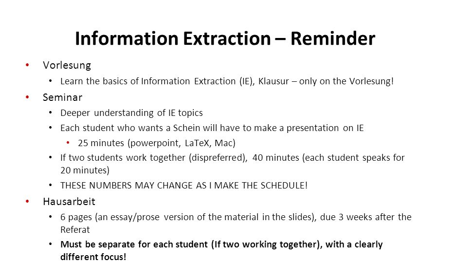 information extraction referatsthemen cis lmu munchen winter  2 information extraction