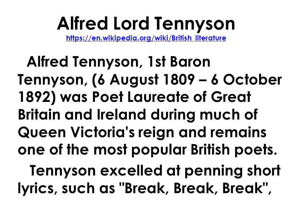 english mr rinka lesson alfred lord tennyson ppt  2 alfred