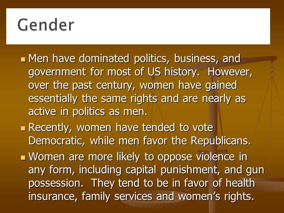 Men have dominated politics, business, and government for most of US history.
