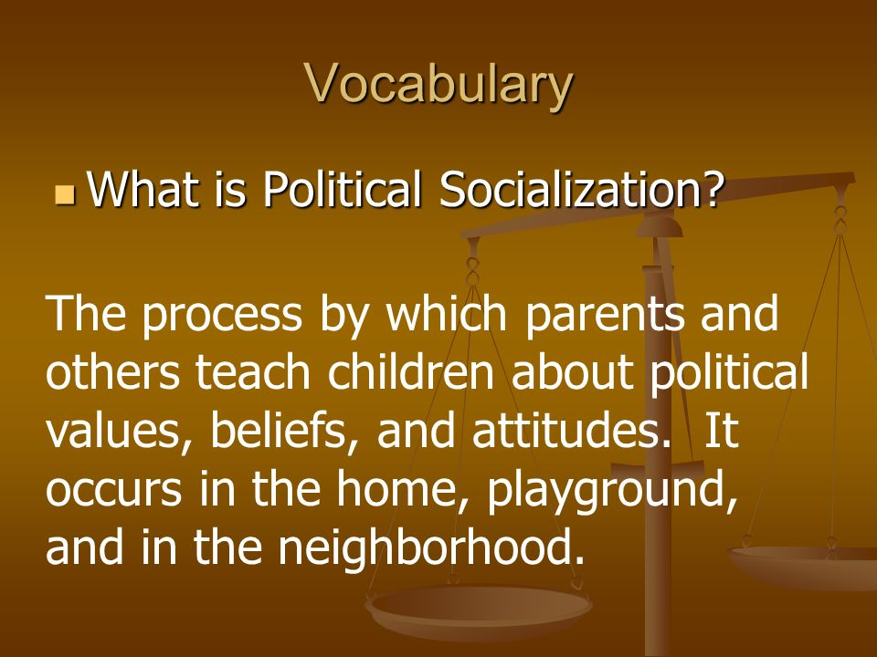 Vocabulary What is Political Socialization. What is Political Socialization.