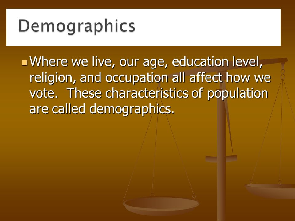 Where we live, our age, education level, religion, and occupation all affect how we vote.