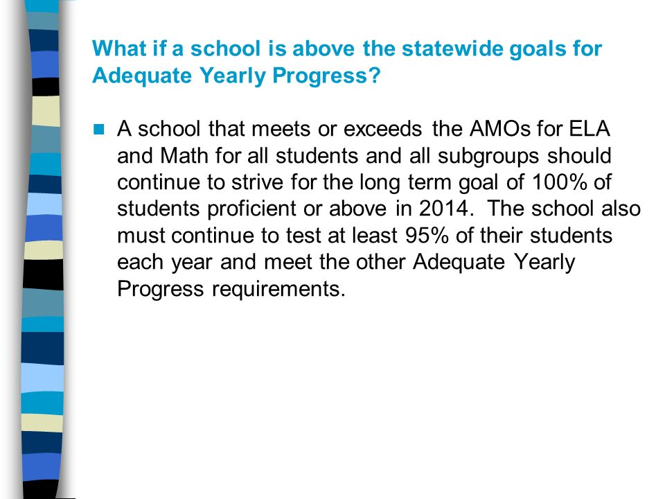 What if a school is above the statewide goals for Adequate Yearly Progress.