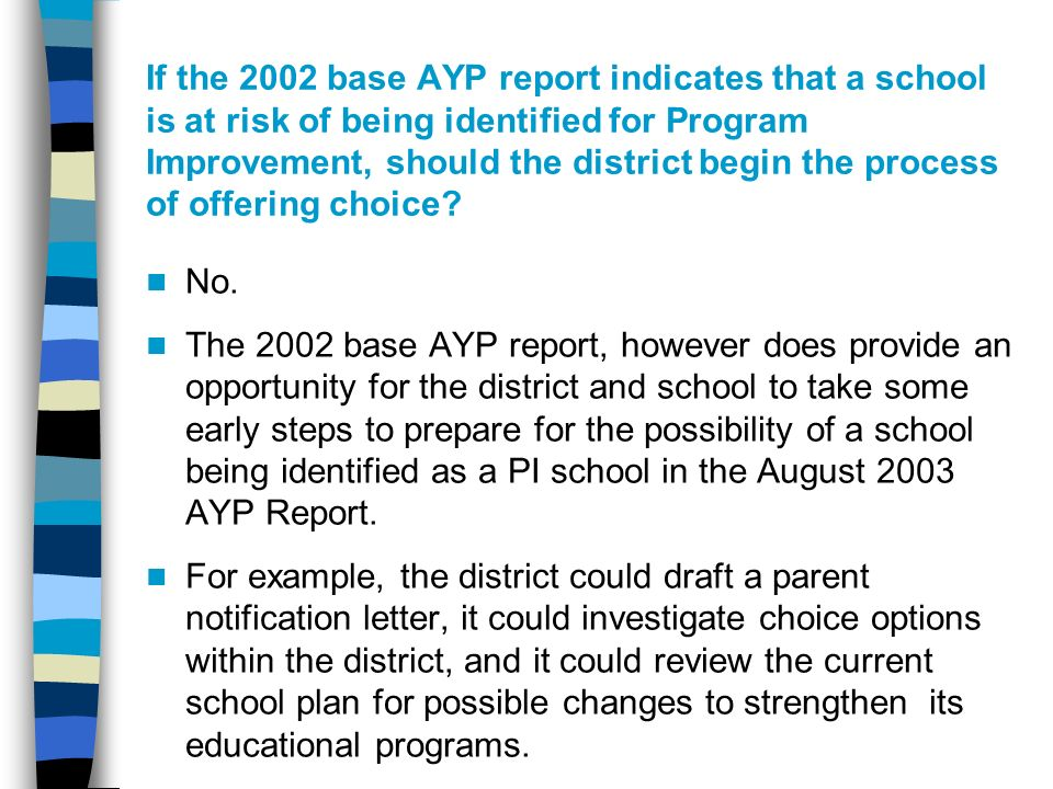 If the 2002 base AYP report indicates that a school is at risk of being identified for Program Improvement, should the district begin the process of offering choice.