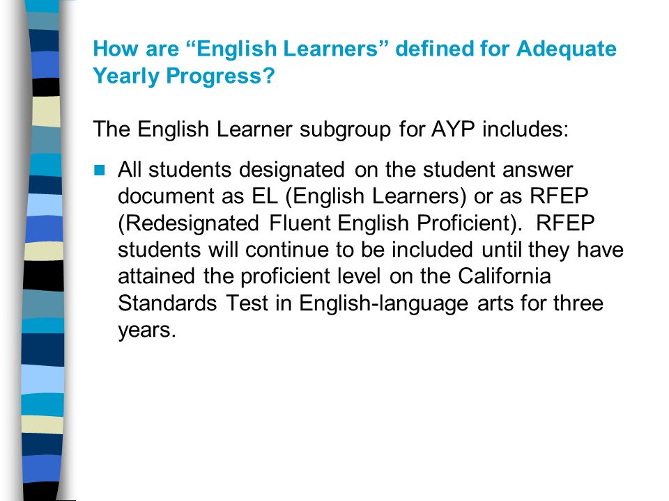 How are English Learners defined for Adequate Yearly Progress.