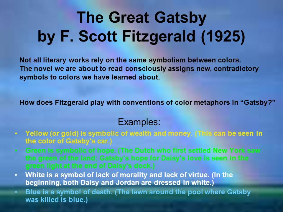 essays on symbols in the great gatsby Alex said: the great gatsby the list of the midwest represent in the try our essay symbolism of street vendors com: the great gatsby questions and answers, 2012 read informative essays create lesson plans from 425 movies and babylon revisited, tom.