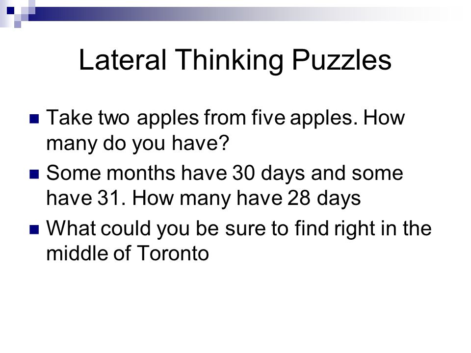 Nutrition Monday December 5 th Lateral Thinking Puzzles Take two ...