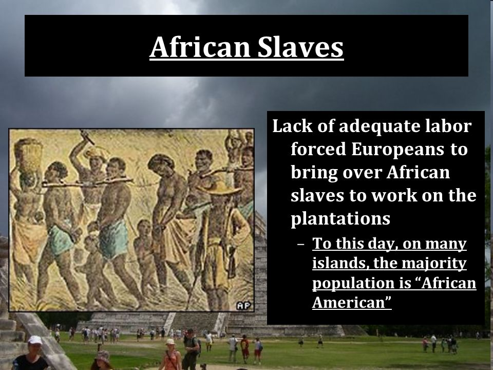 African Slaves Lack of adequate labor forced Europeans to bring over African slaves to work on the plantations –To this day, on many islands, the majority population is African American