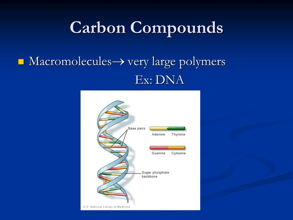 Carbon Compounds Macromolecules  very large polymers Macromolecules  very large polymers Ex: DNA