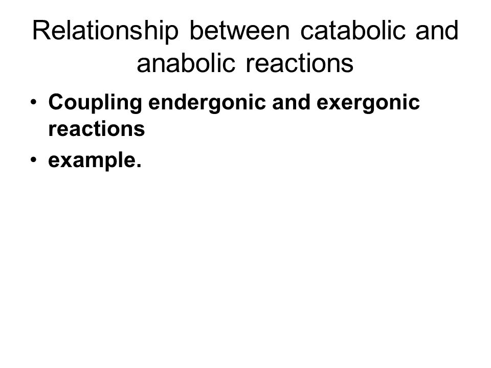 Relationship between catabolic and anabolic reactions Coupling endergonic and exergonic reactions example.