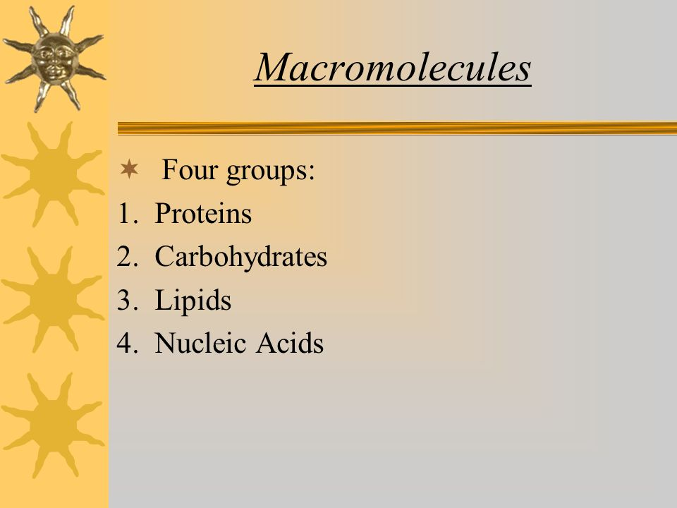 Macromolecules  Four groups: 1. Proteins 2. Carbohydrates 3. Lipids 4. Nucleic Acids