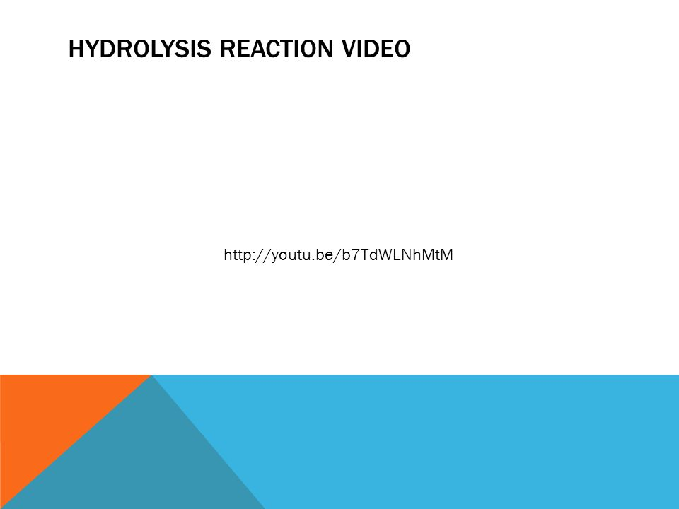 HYDROLYSIS REACTION VIDEO