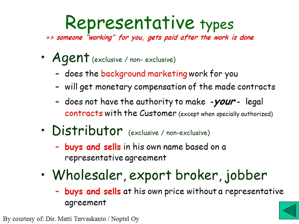 Exporting, How ? Export Through Representatives (Reps) Licensing