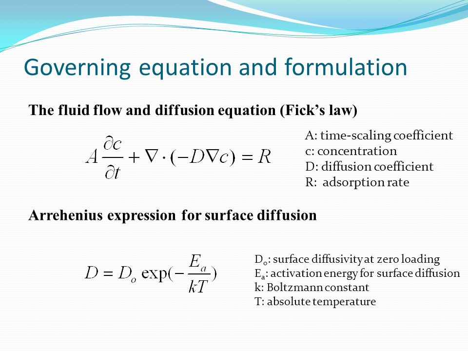 Governing equation and formulation A: time-scaling coefficient c: concentration D: diffusion coefficient R: adsorption rate The fluid flow and diffusion equation (Fick's law) Arrehenius expression for surface diffusion D o : surface diffusivity at zero loading E a : activation energy for surface diffusion k: Boltzmann constant T: absolute temperature