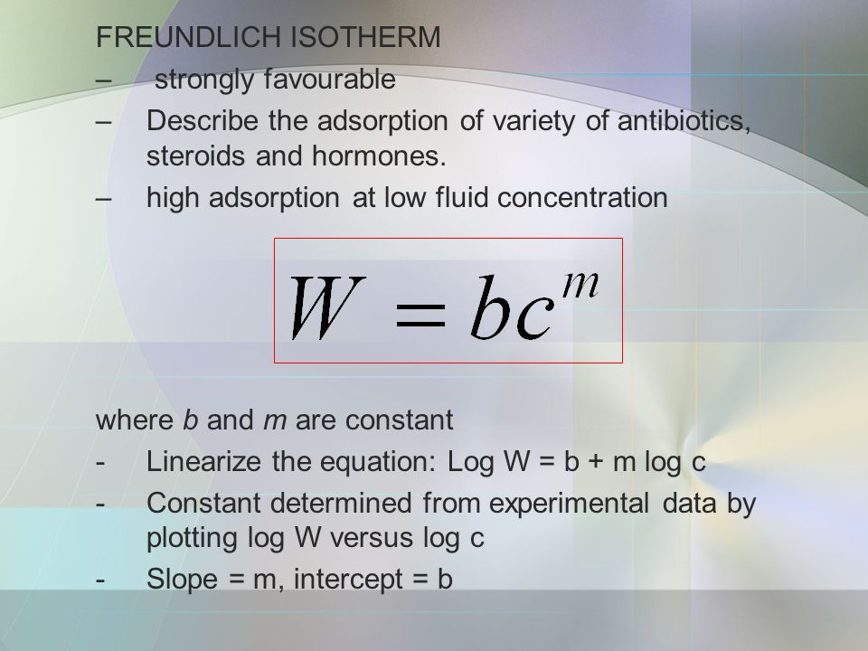FREUNDLICH ISOTHERM – strongly favourable –Describe the adsorption of variety of antibiotics, steroids and hormones.