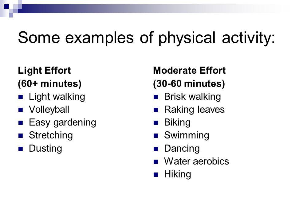 Some examples of physical activity: Light Effort (60+ minutes) Light walking Volleyball Easy gardening Stretching Dusting Moderate Effort (30-60 minutes) Brisk walking Raking leaves Biking Swimming Dancing Water aerobics Hiking