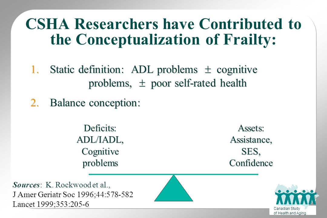 Canadian Study Of Health And Aging CSHA Researchers Have Contributed To The  Conceptualization Of Frailty: