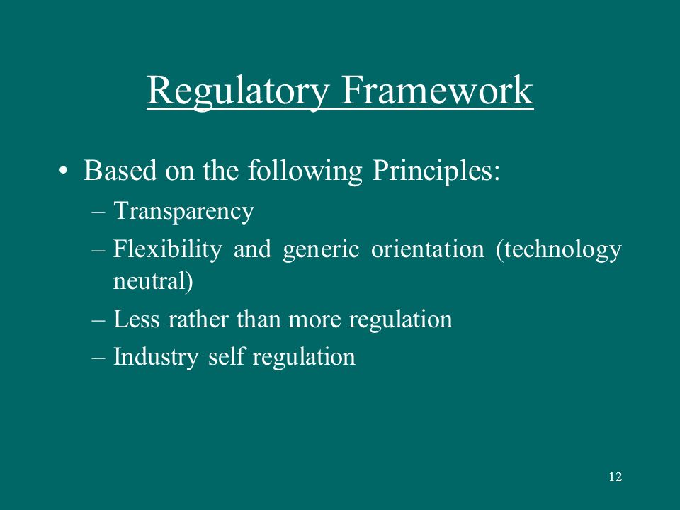 12 Regulatory Framework Based on the following Principles: –Transparency –Flexibility and generic orientation (technology neutral) –Less rather than more regulation –Industry self regulation