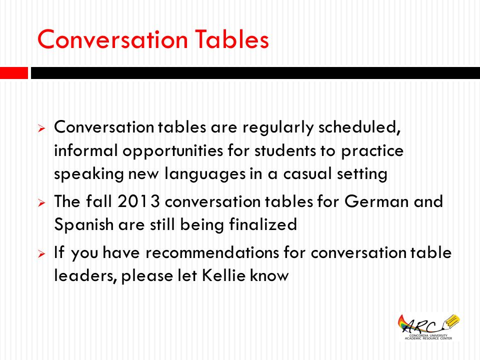 20 Conversation Tables ...