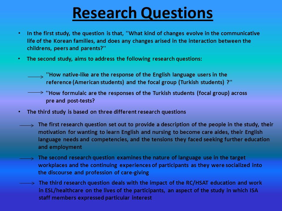 Research question about languages?