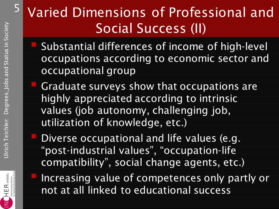 Ulrich Teichler: Degrees, Jobs and Status in Society 5 Varied Dimensions of Professional and Social Success (II)  Substantial differences of income of high-level occupations according to economic sector and occupational group  Graduate surveys show that occupations are highly appreciated according to intrinsic values (job autonomy, challenging job, utilization of knowledge, etc.)  Diverse occupational and life values (e.g.