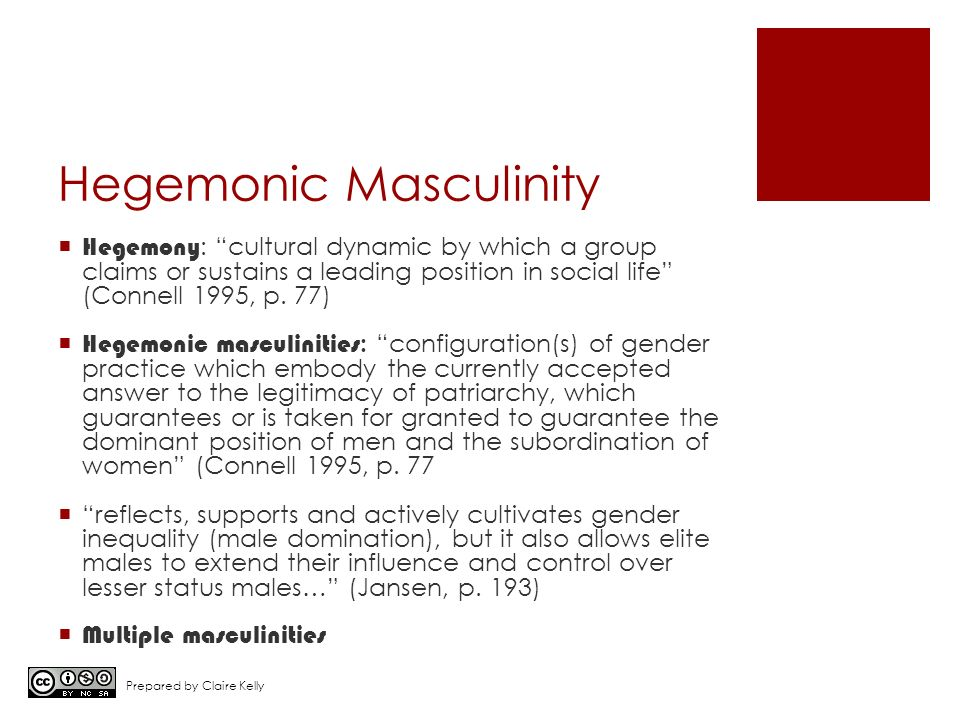 hegemonic masculinity essays Social views of masculinity related to sport by bryan e denham this is an excerpt from sociology of many men perform a role steeped in hegemonic masculinity.