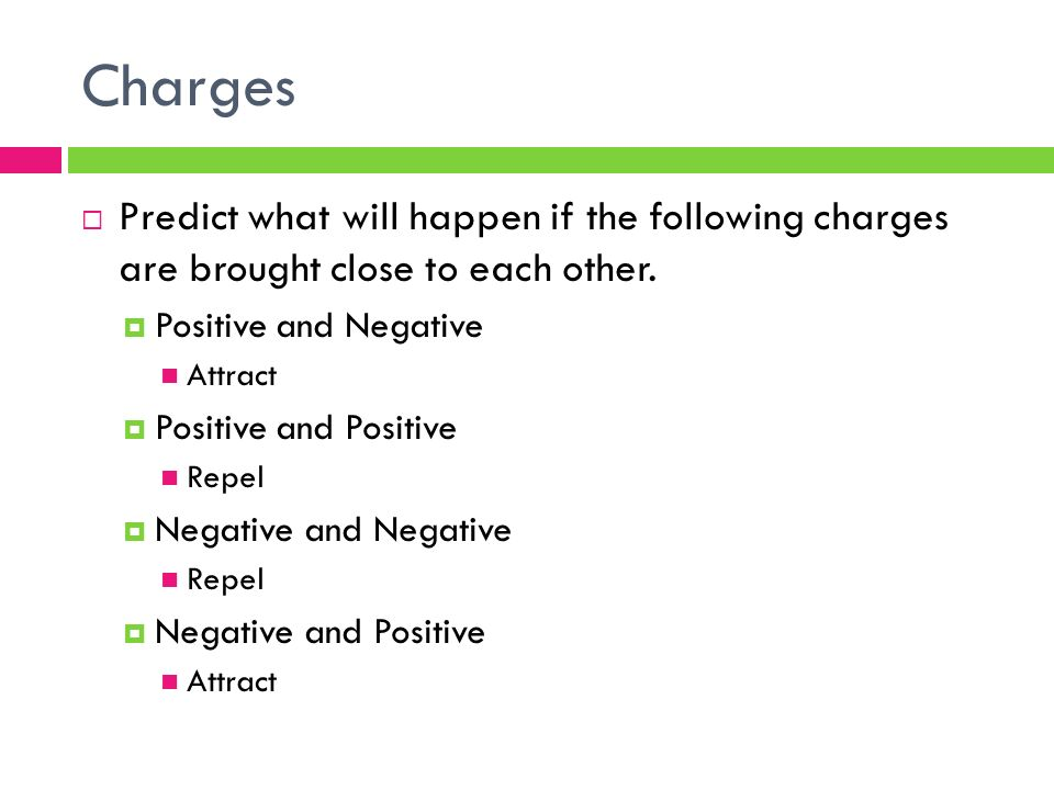 Charges  Predict what will happen if the following charges are brought close to each other.