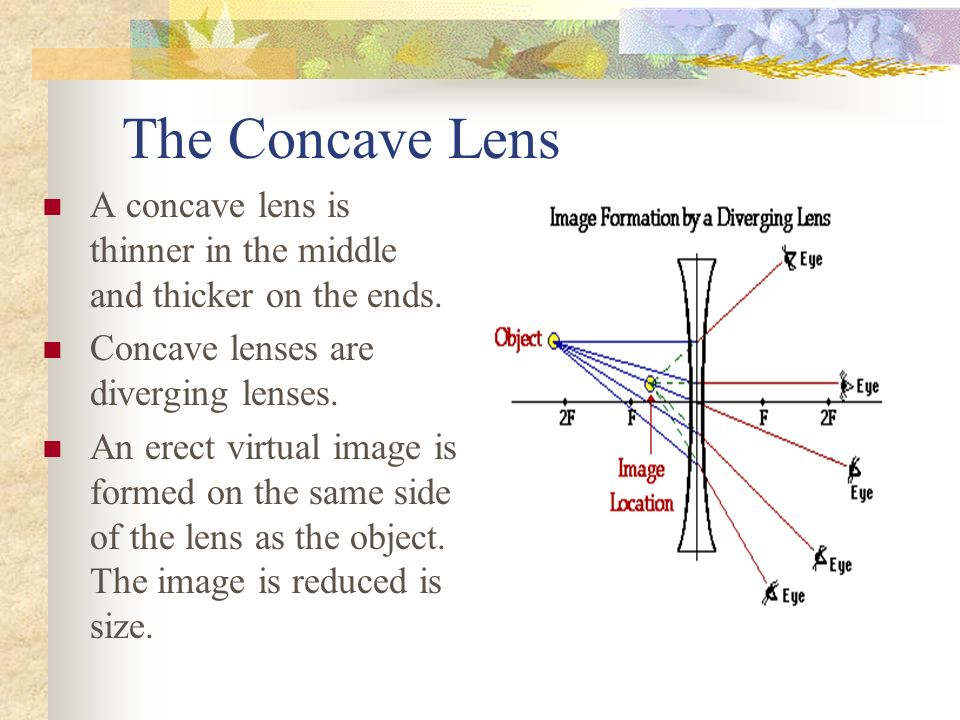The Concave Lens A concave lens is thinner in the middle and thicker on the ends.