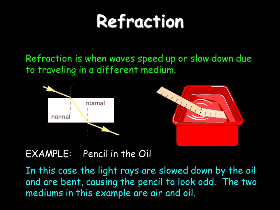 Refraction Refraction is when waves speed up or slow down due to traveling in a different medium.