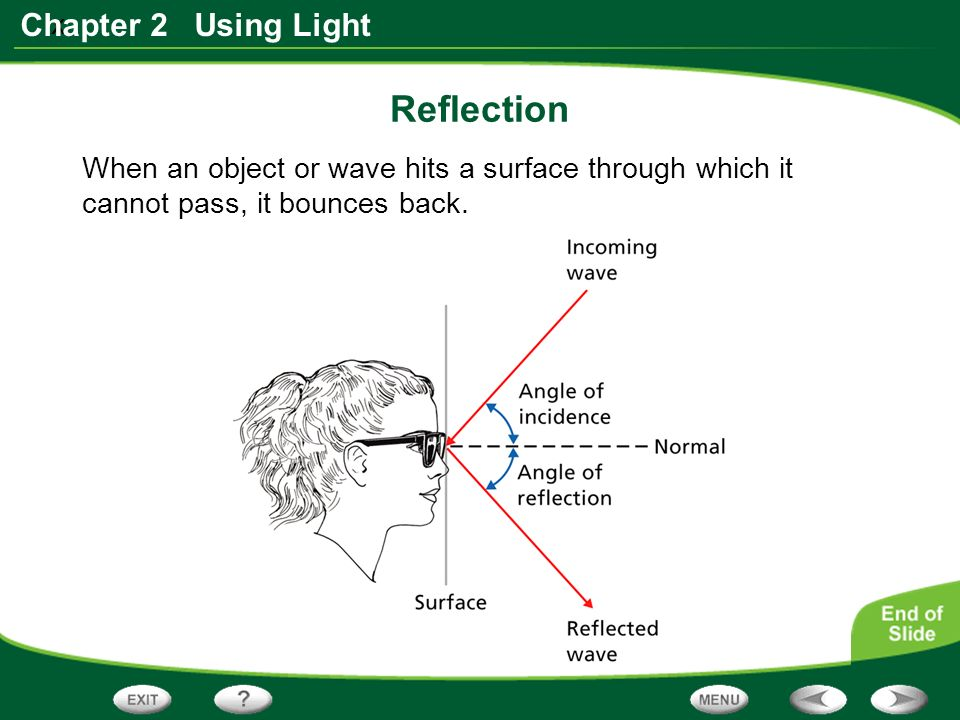 x Chapter 2 Using Light When an object or wave hits a surface through which it cannot pass, it bounces back.