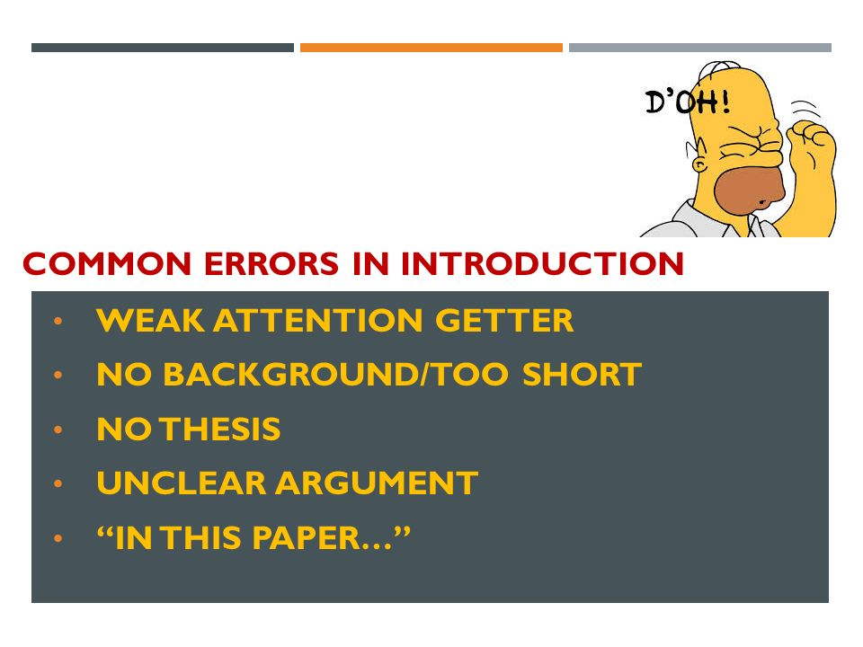 COMMON ERRORS IN INTRODUCTION WEAK ATTENTION GETTER NO BACKGROUND/TOO SHORT NO THESIS UNCLEAR ARGUMENT IN THIS PAPER…