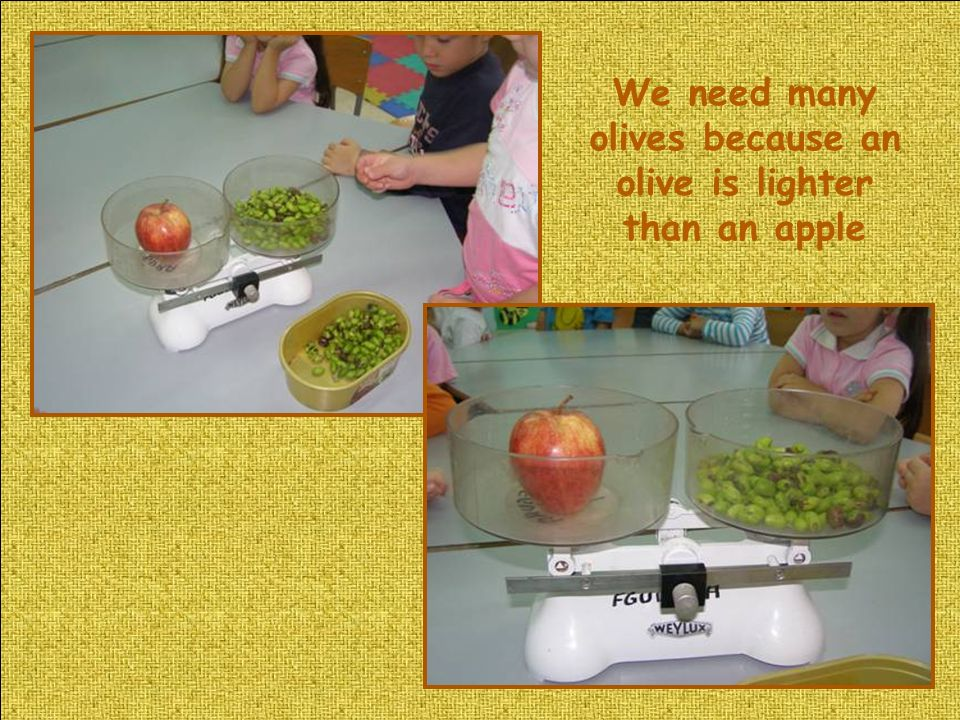 We need many olives because an olive is lighter than an apple